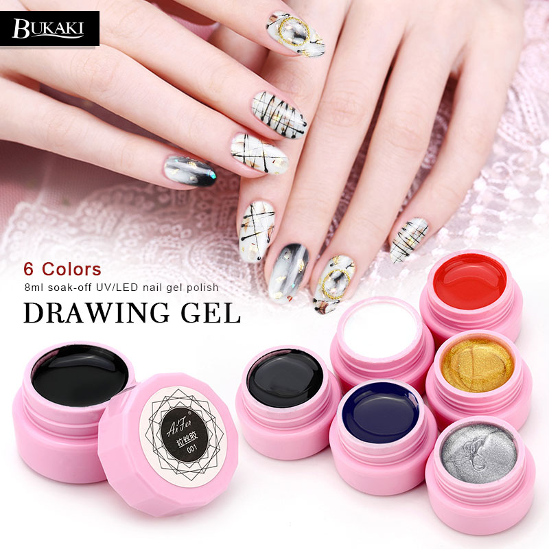 BUKAKI Glitter Holographic Pulling Silk Nail Gel Polish