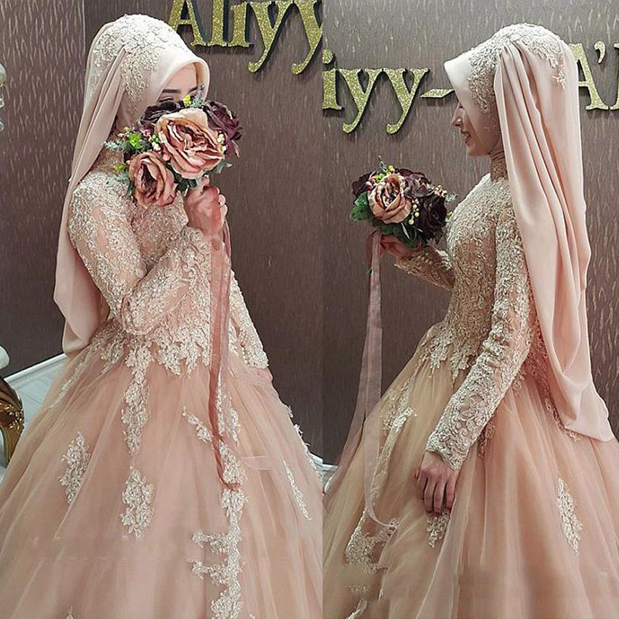 Graceful Tulle High Collar Neckline Ball Gown Arabic Islamic Wedding Dresses With Beaded Lace Appliques Muslim