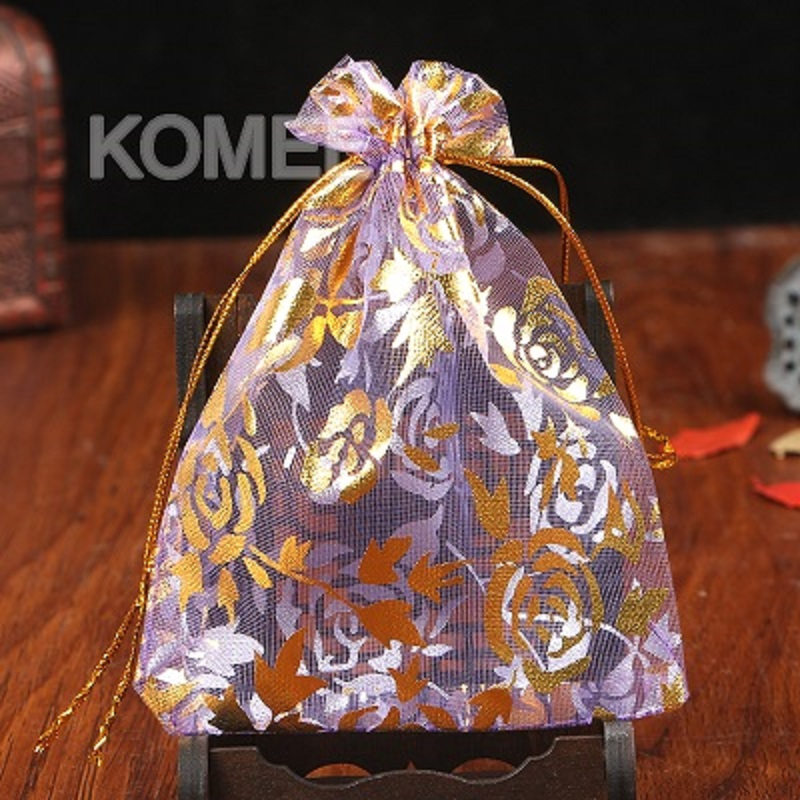 Wholesale 500pcs/lot Rose Printing Organza Bags 15x20cm Candy Jewelry Packaging Pouches Party Favor For Christmas <font><b>Day</b></font> image