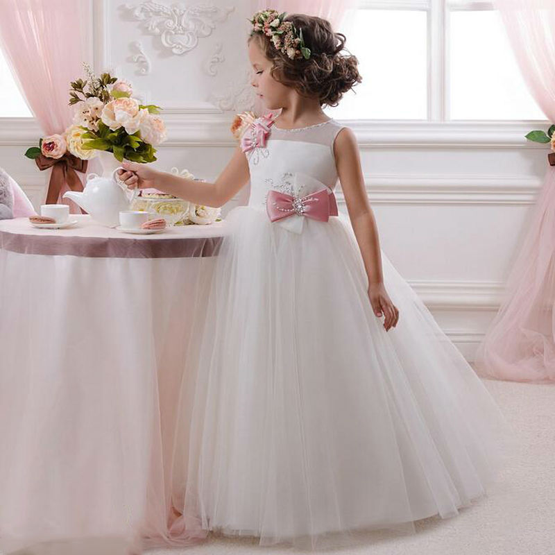 Flower Girl Dress Ball Gown Sleeveless O-neck Bow Crystals Bows Custom Made For Wedding Party Gown 2017 New Arrival Vestidos 4pcs new for ball uff bes m18mg noc80b s04g