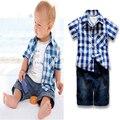 Лето мальчики одежда для новорожденных набор 3 шт. 2016 мультфильм т shier + клетчатую рубашку + ковбойские брюки 3 шт. bsby мальчик комплект одежды лето мальчик одежда