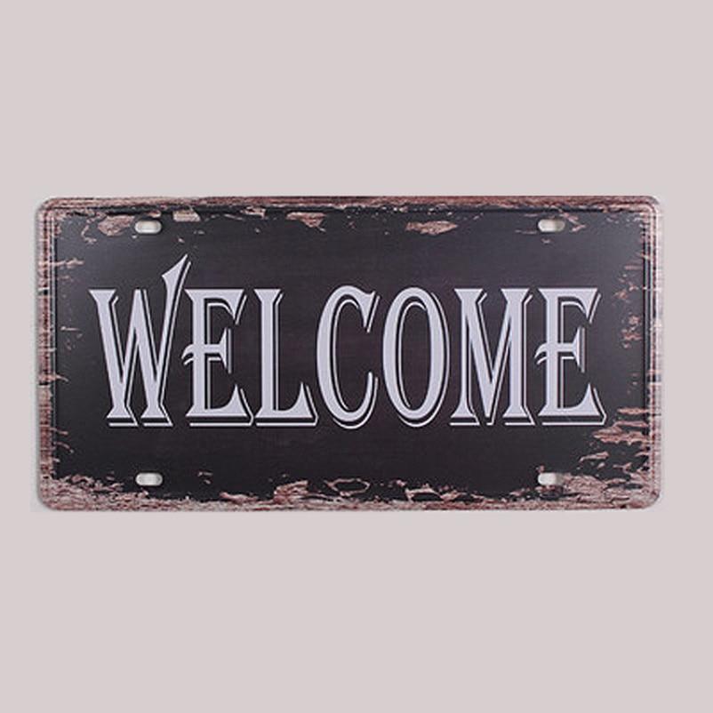 SYF-A056 retro matrícula retroabout letras lema Bienvenido signos de ...