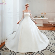 Muslim Wedding Dresses Full Sleeves Lace Satin Off Shoulder Boat Neck Cathedral Train Bride Gowns Walk Beside You vestido de