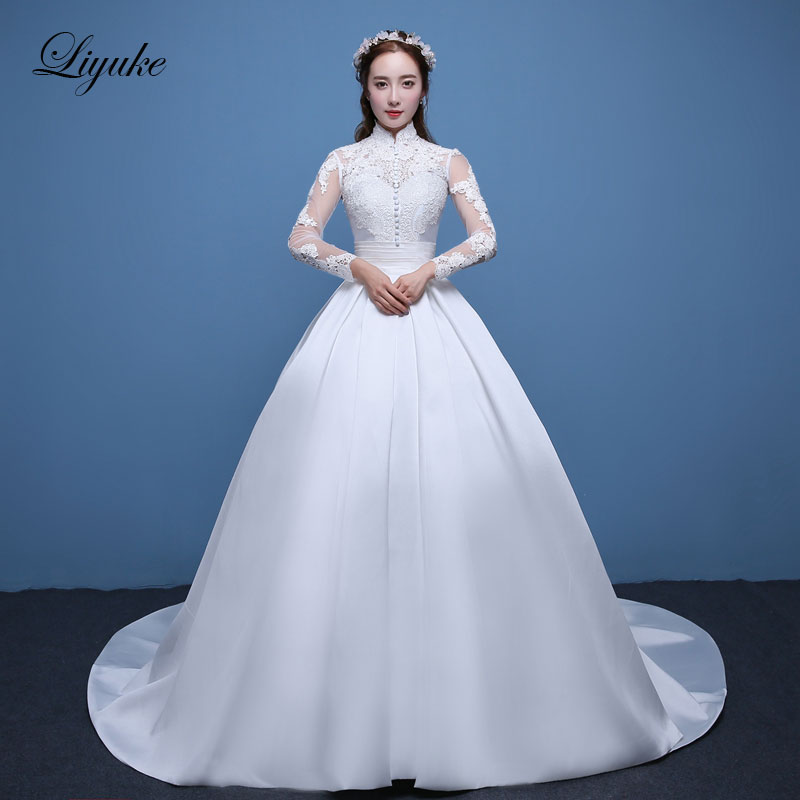 Liyuke J11 Long Sleeve High Collar Wedding Dress Ball Gown Lustrous Satin Appliques Brush Train Bridal Dresses robe de mariage