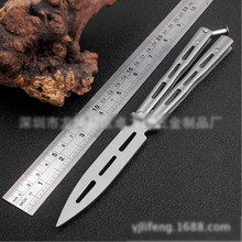 No sharp steel Butterfly Knife font b Toys b font Practice Silver Red Trainer Folding Knives