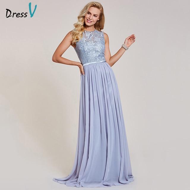 3ea75ebbc Dressv silver evening dress chiffion cheap sleeveless scoop neck zipper up  wedding party formal a line lace evening dresses