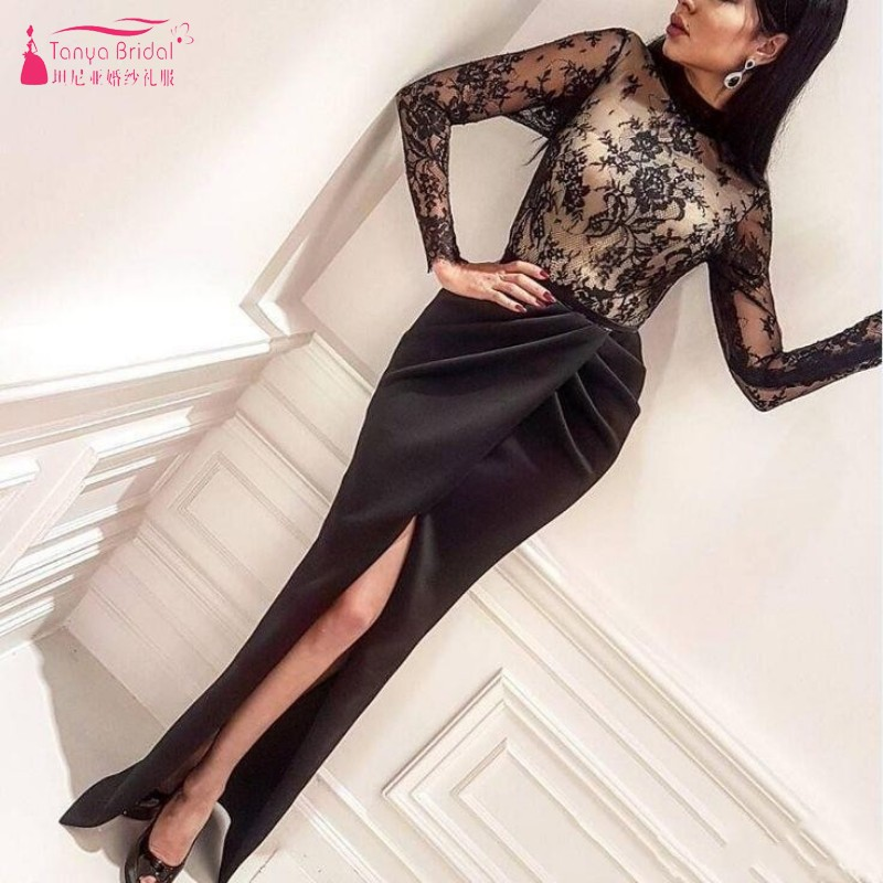 060109f04065 Formal Arabic Mermaid Black Evening Dresses Sheer Long Sleeves Applique  Front Split Long Prom Gowns Celebrity