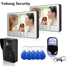 Yobang Security Freeship DHL Home Wired 7 inch TFT Video Door Phone Intercom Kit + 2 White Monitors + black Door bell Camera