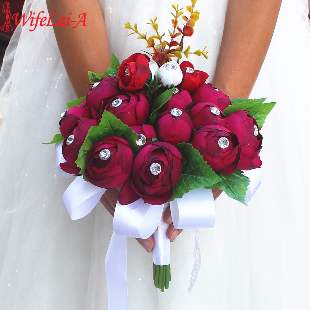 Handmade Wedding Flowers: WifeLai A 2017 Handmade Beautiful Wedding Dark Red Bridal