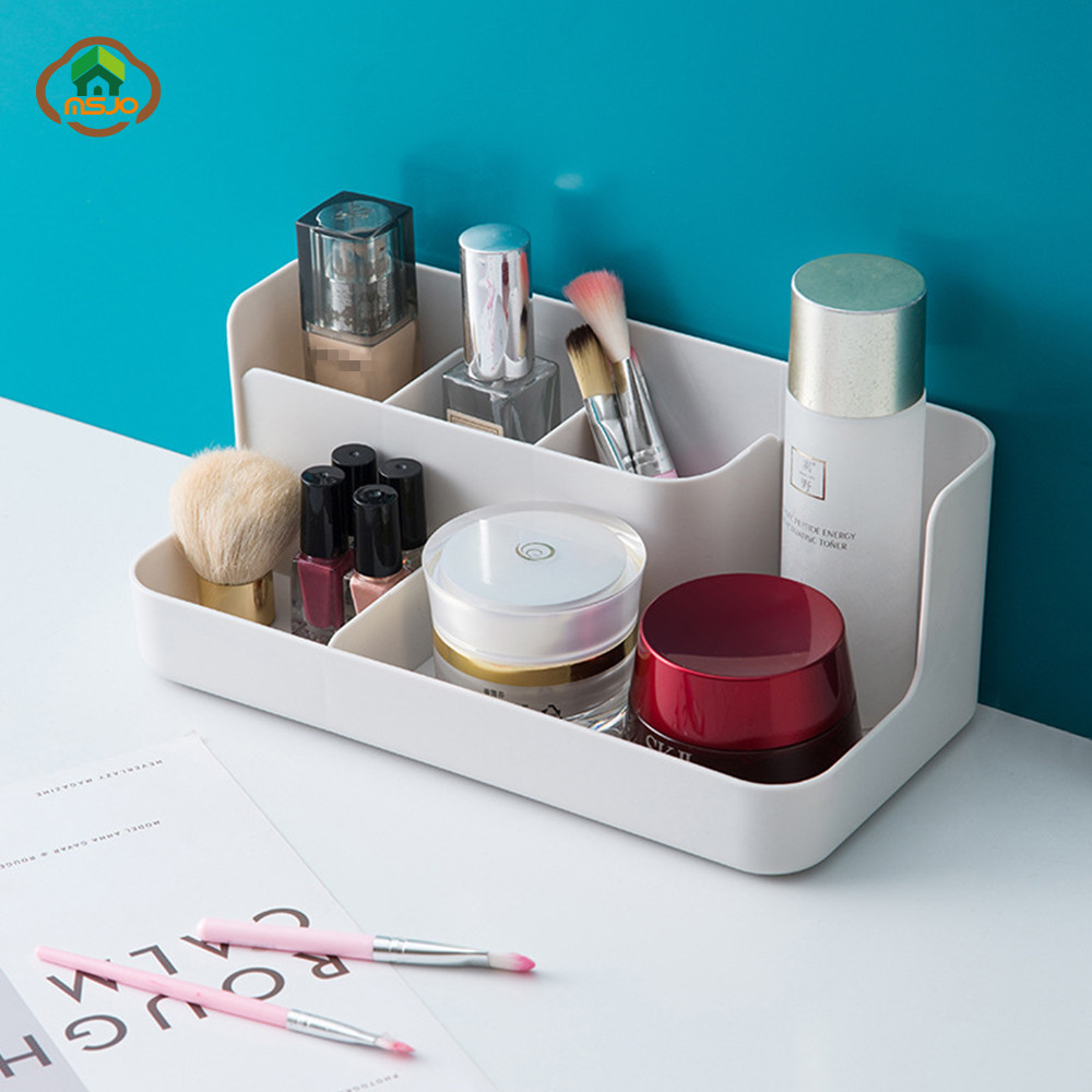 MSJO Makeup Organizer Box Storage for Desktop Drawer Bathroom/Bedroom Storage Plastic Cosmetices Management Home Organizador Box(China)