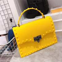 2019 New Design Fashion Women Messenger Bags High Quality PVC Jelly Bag Shoulder Crossbody Bags Girls PU Leather Handbags Yellow