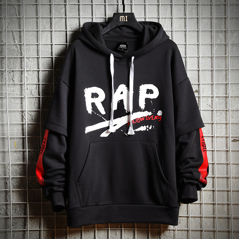 Cotton Print Rap Hip Hop Hoodie Sweatshirt Men Autumn Black Streetwear Funny Male Tops Tracksuit Black Harajuku Hooded Pullovers