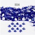 Super Brillante 1440 UNIDS SS4 1.5-1.6mm posterior Plana del Zafiro Glitter Hotfix Pegamento no Fija de Color Azul Profundo Nail Art Flatback