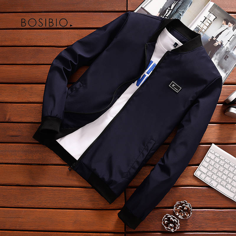 BOSIBIO Summer Autumn Mens Jacket Stand Collar Windbreaker Male Blue Baseball Jackets Casual Thin High Quality Size M-4XL LH-2(China)
