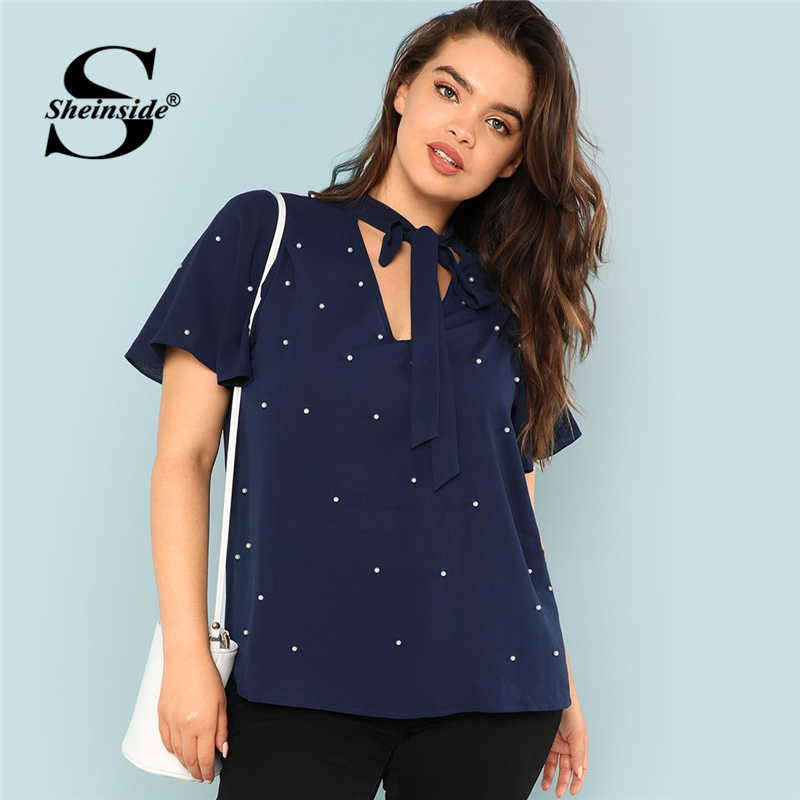 192544d55fbb1e Sheinside Plus Size Tie Neck Pearl Beading Blouse Women Short Sleeve Solid Top  Summer 2019 Navy