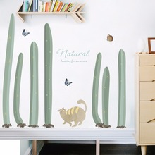 Green Plants Cactus Bonsai Potted Decorative Wall Stickers for Kids Room Kitchen Window Living Home Decor