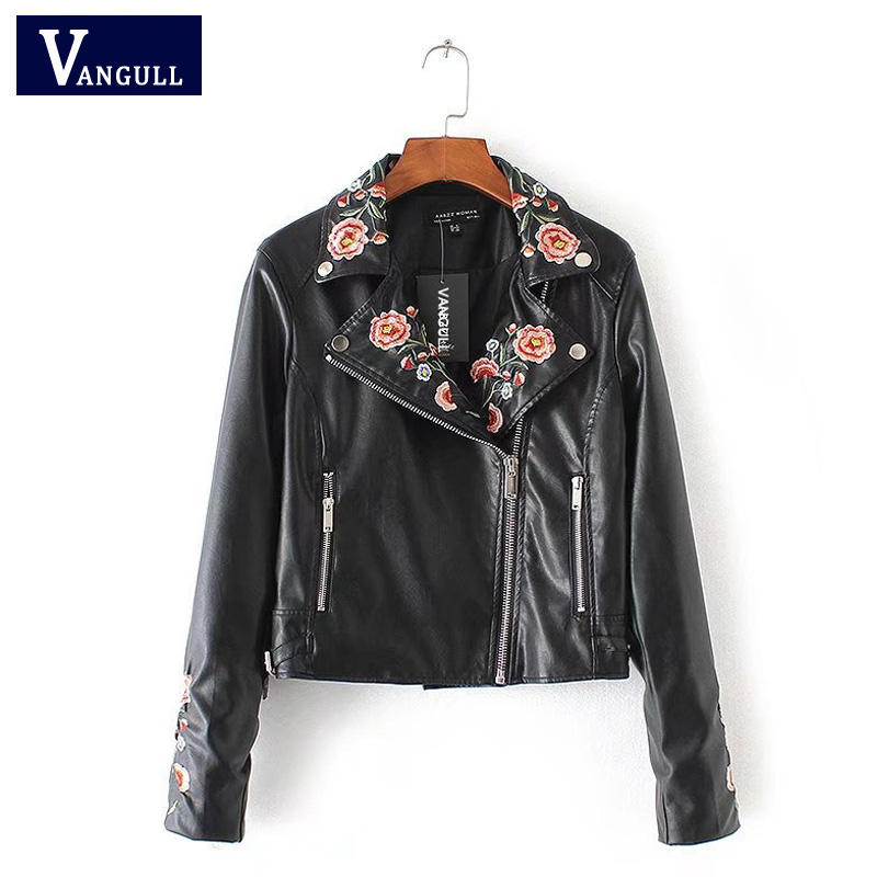 Vangull women new   leather   Jacket 2018 Brand locomotive paragraph flower embroidery long sleeve black Faux PU Leahter Slim Coat