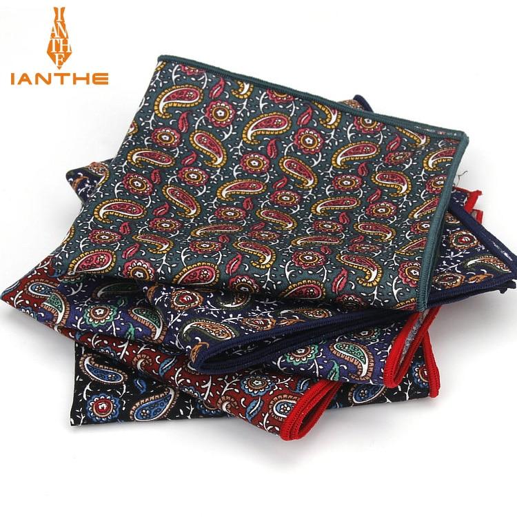 2018 Brand New Style Hankerchief Scarves Vintage Cotton Hankies Men's Pocket Square Handkerchiefs Paisley Printed Towel Gravatas