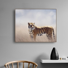 Laeacco Calligraphy Painting Tiger Animal Posters and Prints Canvas Wall Artwork Pictures for Living Room Nordic Home Decoration