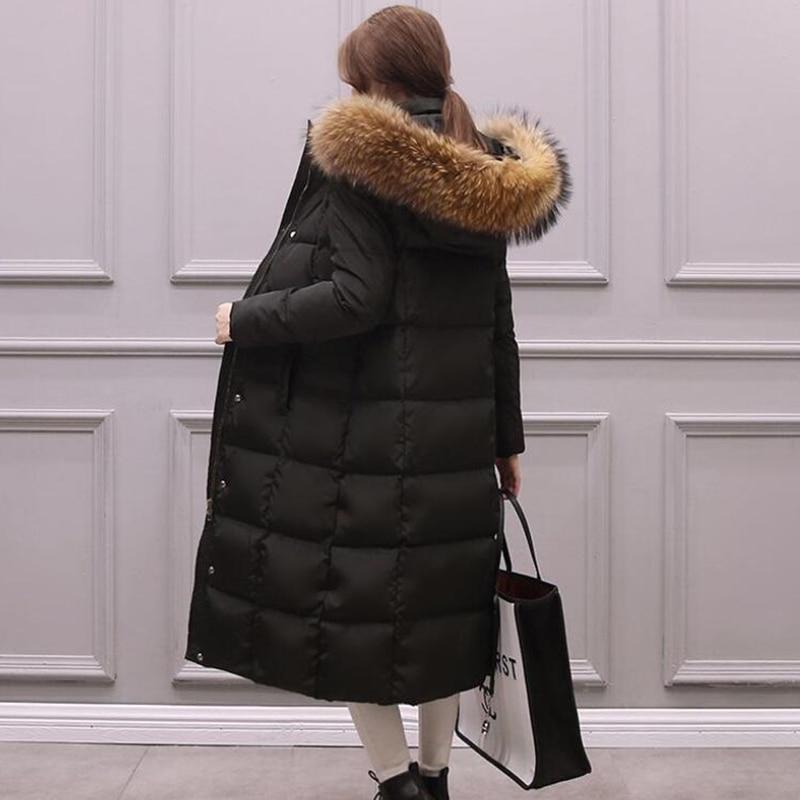 كبيرة الفراء الحقيقي 2019 الشتاء سترة المرأة سترة الراكون الفراء طوق معطف الشتاء النساء إطالة أسفل سترة رشاقته الدافئة الإناث سترة-في سترات فرائية مقلنسة من ملابس نسائية على  مجموعة 1