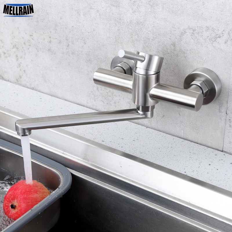 Wall mounted lengthen kitchen sink mixer long style rotate kitchen faucet stainless steel brushed hot & cold mixer water tap free shipping stainless steel folding lead free kitchen mixer tap sink faucet wall mounted hole hot and cold water kf785