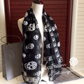 135x135cm New Brand 100% Silk Scarf Printing Skull Scarves For Women Skulls Print Designer Real Silk Scarf High Quality Shawl