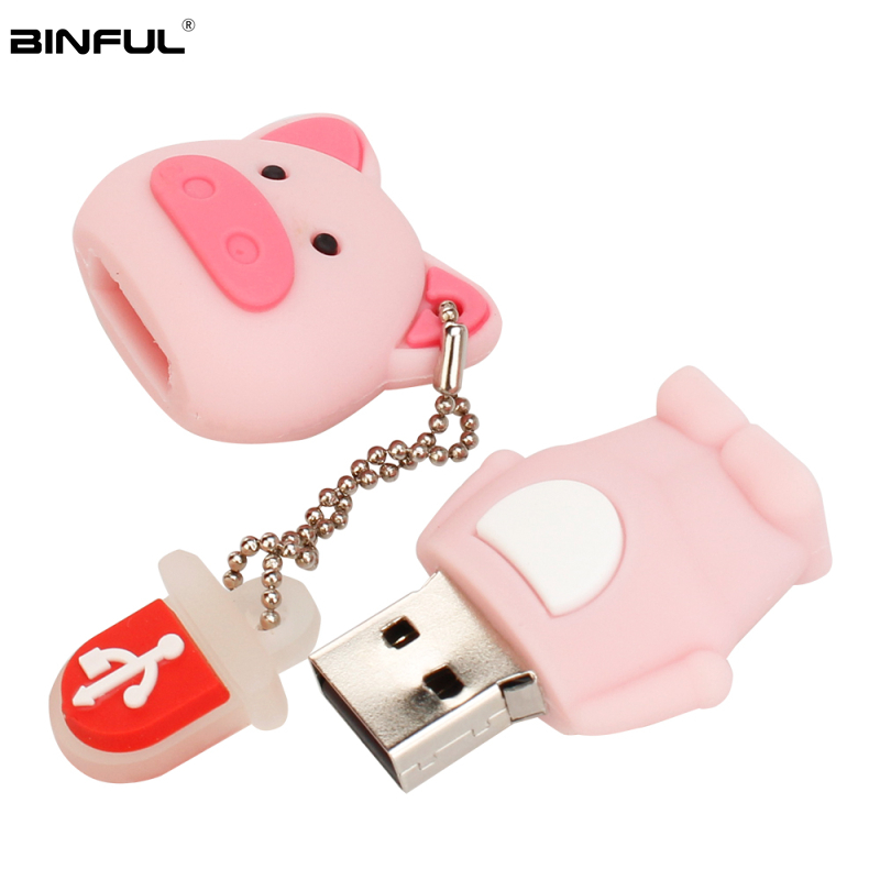 Cute Cartoon Pig Usb Flash Drive 16gb 2.0 Pen Drive 4gb 8gb 32g 64g 128g High Quality Usb Stick Best Gift Pendrive Free Shipping-in USB Flash Drives from Computer & Office