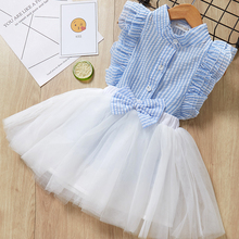 Children Summer Dress 2019 Casual Style Girls O-Neck Clothing Set White Lace T-shirt+Skirt Girls Sleeveless Suits Kids Clothes