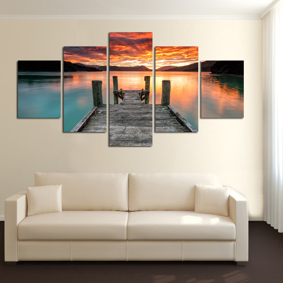 Landscape poster sun set HD printing lakeside small bridge canvas painting for living room home decoration drop shipping FA49