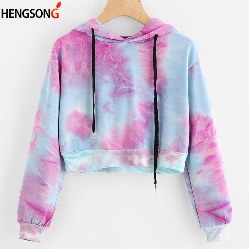 Colorful Printing Hoodies Sweatshirt Women Fashion Brand Cool Version Street Wear Hip Hop Spring Autumn Hoodie Crop Tops Hoody