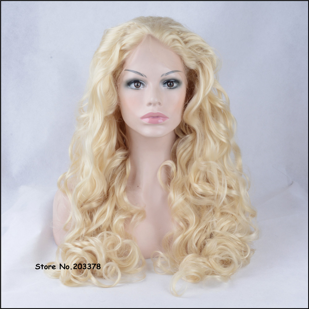 ФОТО Strong Beauty Synthetic Hair Long Wavy Blonde Lace Front Wigs High Quality  Clip in Hair Full Wigs For Sexy Black Woman