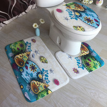 All For Bathroom Toilet Seat Cover Non-Slip Blue Ocean Style Pedestal Rug + Lid Toilet Cover + Bath Mat Commode