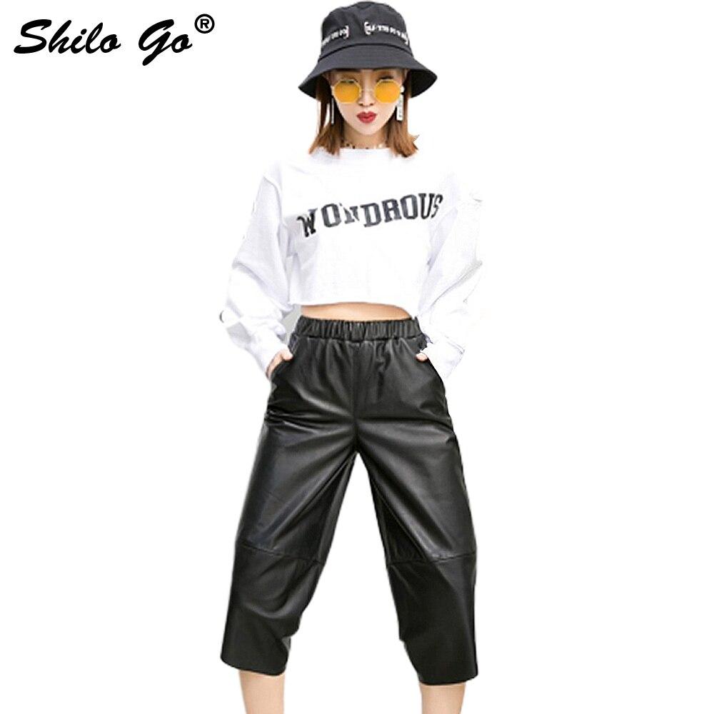 Femmes Extensible Taille Genou Véritable Haute Longueur Causalité Mouton En Noir Cuir Pantalon De Peau D'été oCWdxQrEBe