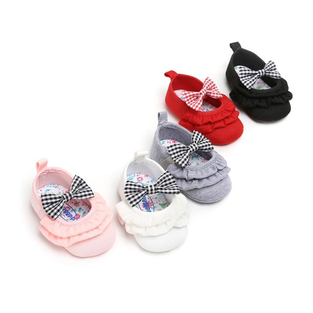 2019 Newborn Baby Girl Shoes Infant Toddler Baby Crib Shoes Princess Lace Mary Jane Big Bow Soft Soled First WalkerA 2