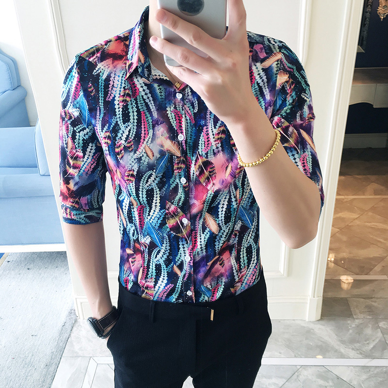 2018 New Fashion Flower city bog personality mens floral shirts Type Male Tide Seven Part Sleeve Sociology 5xl Free shipping