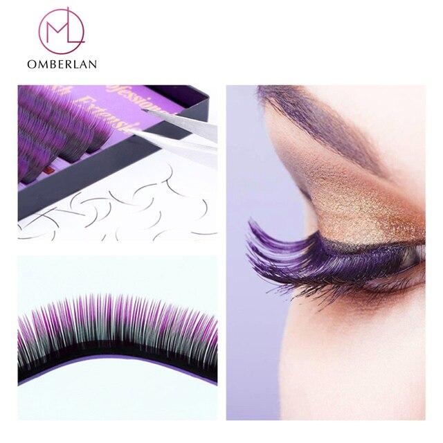 b7130987ef7 Colored Eyelashes False Eyelash Permanent Lashes Cilos Kit Colorful Purple  Hair Soft Silk Eye Lash Faux Lashes Makeup OMBERLAN