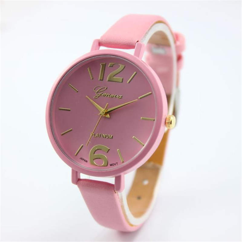 Geneva Women Bracelet Watch Famous brand Ladies Faux Leather Analog Quartz Wrist Watch Clock Women relojes mujer 2018 #D