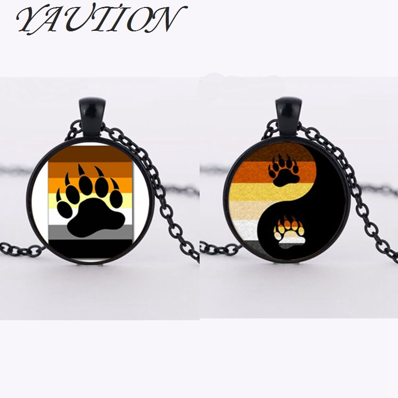 Bear Pride Ying Yang with Paw G Pride Photo Charm Pendant rainbow necklace & pendant Handmade glass dome g jewelry
