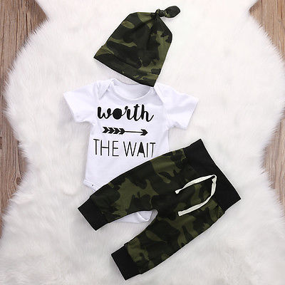 2017 Army Green Newborn Baby Girl Boy Clothes Romper T Shirt Long Pants And Hat Outfits 3Pcs In