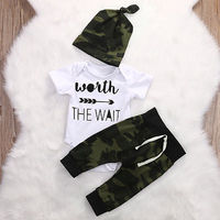 2017 Army Green Newborn Baby Girl Boy Clothes Romper T Shirt Long Pants And Hat Outfits