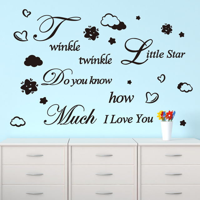 Shijuehezi handmade little star song english wall sticker quotes custom wall decals for kids