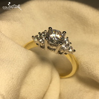 Yellow Gold Plated Ring For Women Cluster Simulated Diamond Anniversary Engagement Ring 925 Sterling Silver Fashion