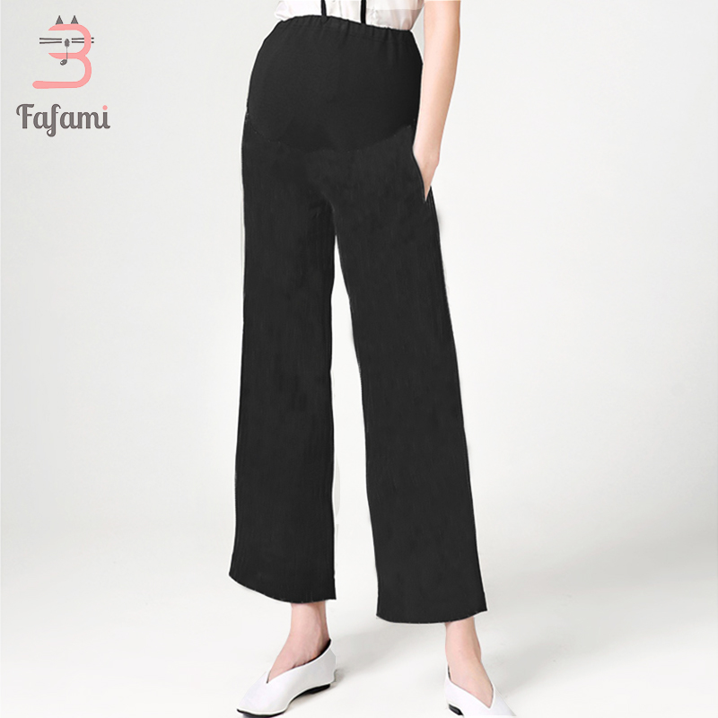 Materniity pants women Pregnancy Loose cotton pants Capris maternity clothes casual pants black high waist wide leg pants spring