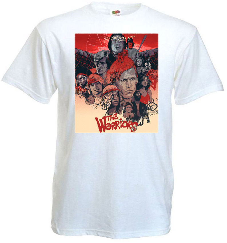 The Warriors <font><b>V8</b></font> <font><b>T</b></font> <font><b>Shirt</b></font> White Movie Poster All Sizes S 5Xl Men <font><b>T</b></font> <font><b>Shirt</b></font> Short Sleeve Round Neck image