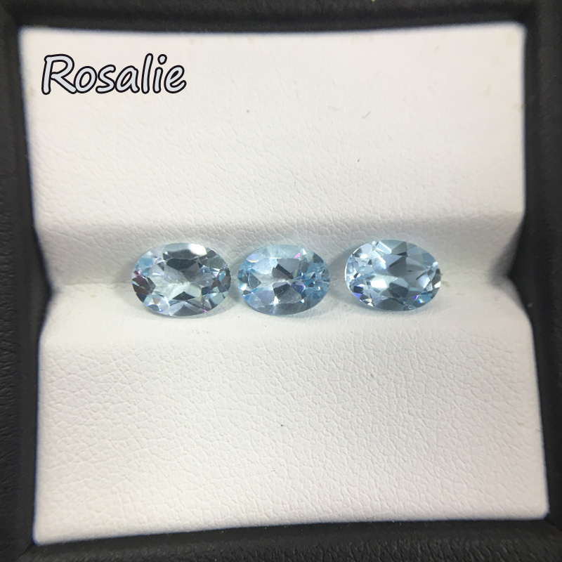 Rosalie,Natural loose gemstone brazil real sky blue topaz oval 6*8mm 3 pc 4.5ct in one lot gemstone for silver jewelry mounting