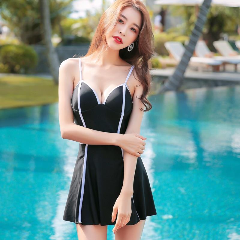 Summer 2018 New Sexy M-XXL Black blue Swimwear Push Up Pleated Skirt one piece swimsuit Asia Beach women's swimming suit asia blue card 100g