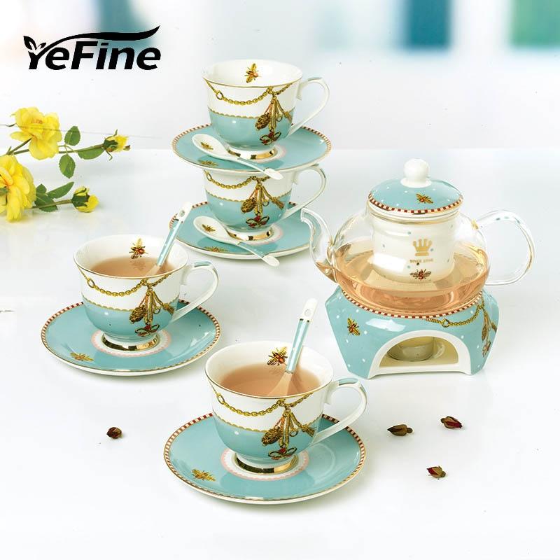 YeFine Ceramic Tea Set 15 PCS Set Advanced Heatable Glass Teapot With Tea Infuser Bone Porcelain