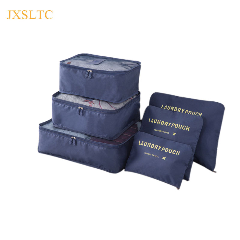 JXSLTC 2018 New 6PCS/Set High Quality Oxford Cloth Travel Mesh Bag In Bag Luggage Organizer Packing Cube Organiser For Clothing