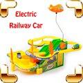 Новый Год Подарок Электрический Железнодорожный Вагон Детей Забавные Игрушки игры Дети Гоночной Трассе Автомобили для Рельсовых Транспортных Средств, Ребята Настоящее Отслеживание поезд
