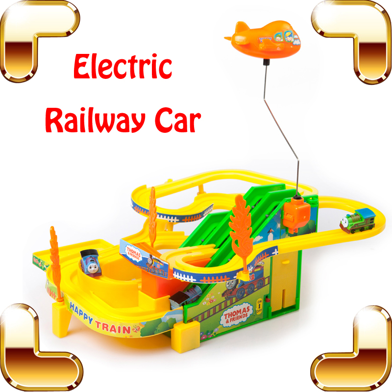 New Year Gift Electric Railway Train Car Children Funny Toy Game Kids Race Track Cars Ra ...